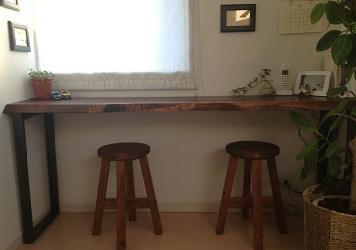 #223 クラロウォールナット 鉄脚カウンターテーブル オイルフィニッシュ りあるうっど 納品事例